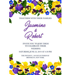 Wedding invitation festive card with flower border vector