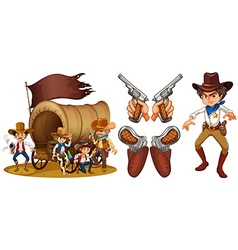 Western set with cowboy and guns vector