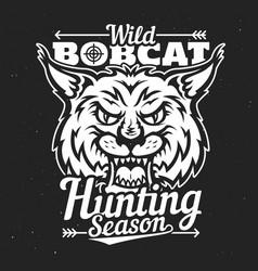 wild bobcat lynx hunting season hunt club badge vector image