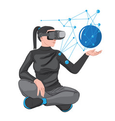 woman in virtual reality headset creating a vector image