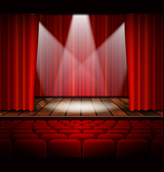 A theater stage with a red curtain vector image vector image