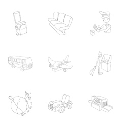 Check at airport icons set outline style vector