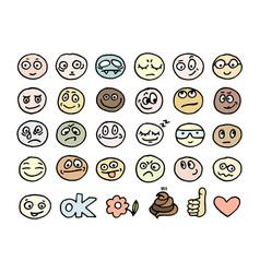 emoticon doodles set vector image