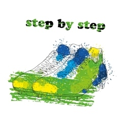 Hand drawn football boots with watercolor effect vector image