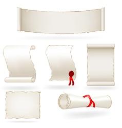 Set of old paper scrolls vector image