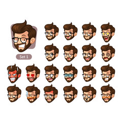 the first set of bearded hipster facial emotions vector image vector image