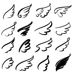 wings icon sketch collection cartoon hand drawn vector image