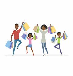 happy african family enjoys shopping - cartoon vector image vector image