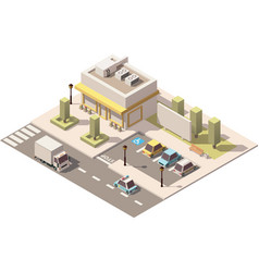 isometric low poly urban supermarket vector image vector image