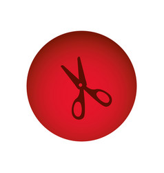 red circular frame with scissors tool vector image