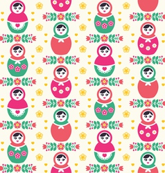 Russian doll Matryoshka folk seamless pattern vector image