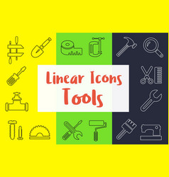set of linear icons in the flat style vector image vector image