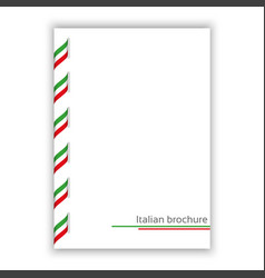 white brochure with ribbon in italian tricolor vector image vector image