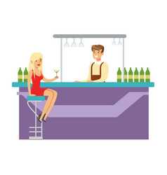 cute girl in red dress drinking alone at the bar vector image vector image