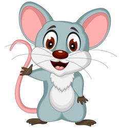 happy mouse cartoon posing vector image vector image