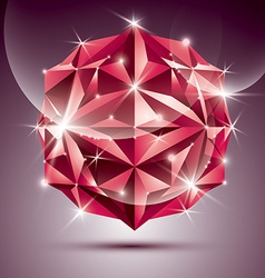 3D red shiny disco ball fractal dazzling abstract vector image