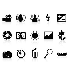 collection of dslr camera symbol vector image vector image