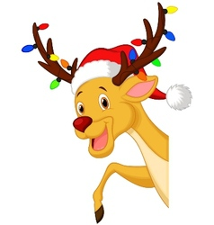 Cute deer cartoon with bulb and red hat vector image vector image