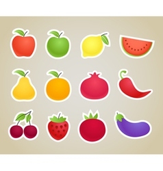 fruit and vegetables silhouettes clip-art vector image