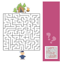 game template with children camping - vector image