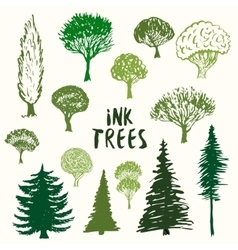 Green trees silhouette collection Hand vector image vector image