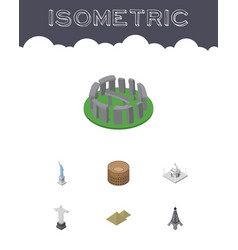 Isometric travel set of rio india mosque england vector