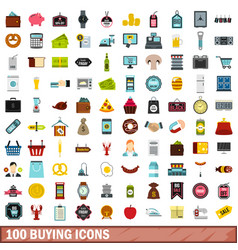 100 buying icons set flat style vector image