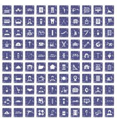 100 craft icons set grunge sapphire vector