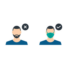 a guy with medical mask and guy without vector image