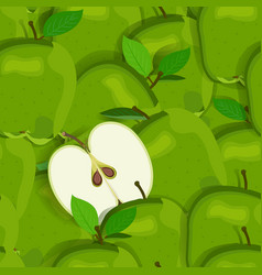 Apple pile seamless pattern and half green apples vector