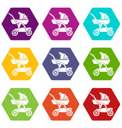 baby carriage designer icons set 9 vector image