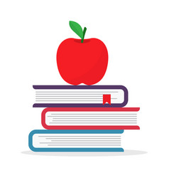 back to school pile textbooks with apple vector image
