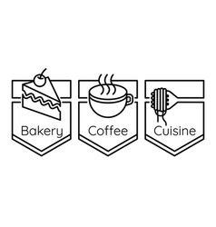 bakery coffee cuisine logo set vector image