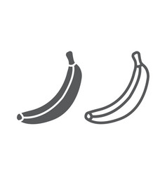 banana line and glyph icon fruit and vitamin vector image