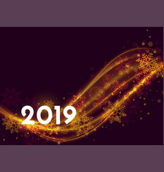beautiful 2019 new year poster design with light vector image