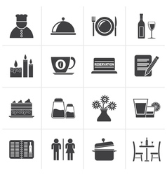 Black Restaurant cafe and bar icons vector