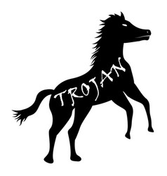 Black trojan horse computer virus icon vector