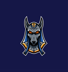 blue anubis mascot logo pharaoh mascot logo vector image