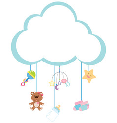 Border template with baby items vector