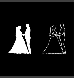Bride and groom holding hands icon set white vector