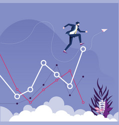 Businessman jump to higher level graph vector