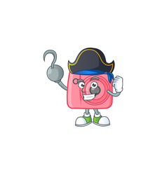 Calm one hand pirate instan camera wearing hat vector