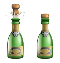 champagne popping cork bottle pledge celebration vector image