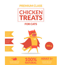 Chicken treats for cats banner template pets food vector