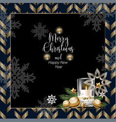 christmas banner or postcard with candle vector image