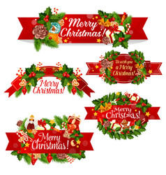 Christmas wreath ribbon banner for winter holidays vector