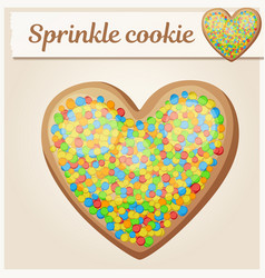 colorful sprinkles heart cookie vector image
