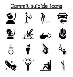 Commit suicide icon set vector