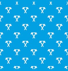 Crossed blacksmith hammer pattern seamless blue vector