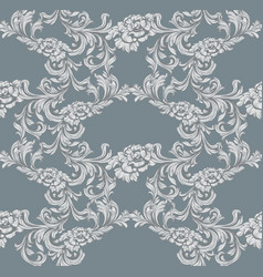 damask pattern decor for invitation wedding vector image